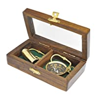 Bússola e Luneta Douradas com Caixa de Madeira e Vidro - 2 Peças