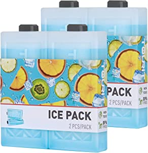 TOURIT Reusable Ice Packs for Coolers Long Lasting Freezer Packs Space Saving Ice Blocks for Lunch Bags/Boxes, Cooler Backpack, Camping, Beach, Picnics, Fishing and More(Set of 4)