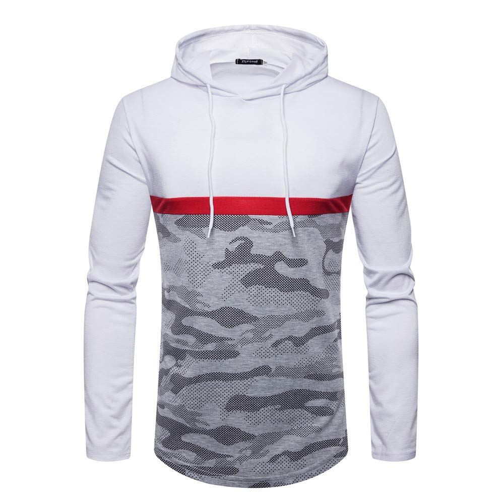 LIKESIDE Men's Autumn Winter Casual Slim Fit Camouflage Long Sleeve Hoodie Top Blouse