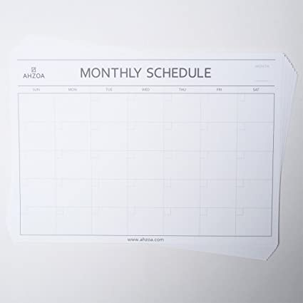 AHZOA Monthly Plan Schedule Paper Sheet For Desk Pad