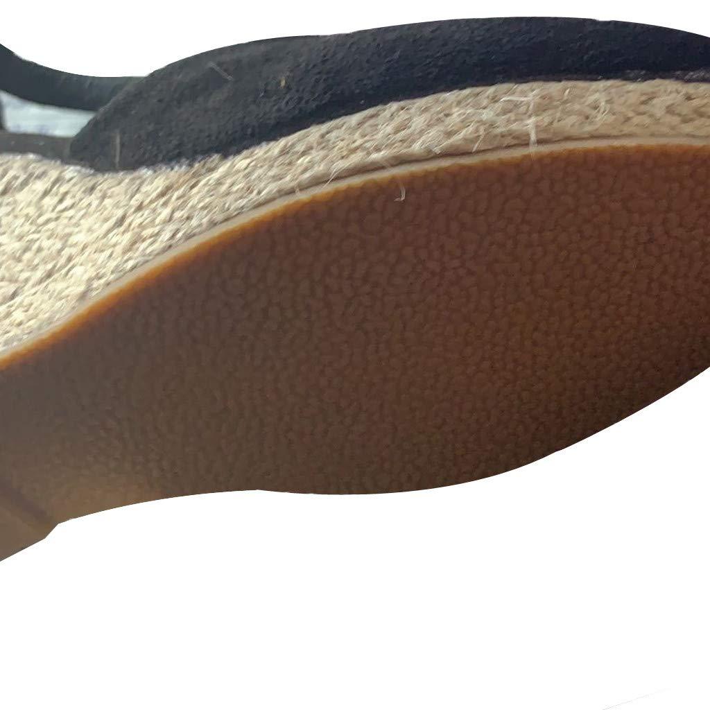KItipeng Sandales Compens/éEs ,Pas cherr Toile Espadrilles Compens/éEs Sandales,Bout Ouvert Sandales en Toile,Grande Taille Chaussure De Plage De Vacances,Chaussure /à Talons Plats Tongs Claquettes Noir