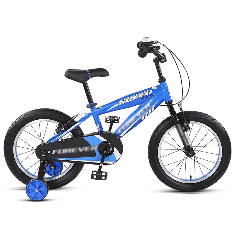 ボーイズ&ガールズペダルバイクベビーベビーカー14インチの子供用自転車3-5歳の子供のマウンテンバイクブルー B07DXJL46W