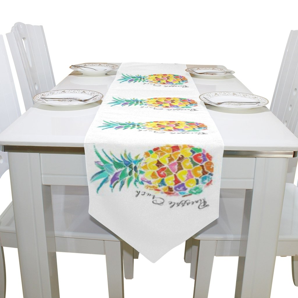 Naanle Double-Sided Fruit Pineapple Polyester Table Runner 13 x 90 Inches Long White Table Top Decoration