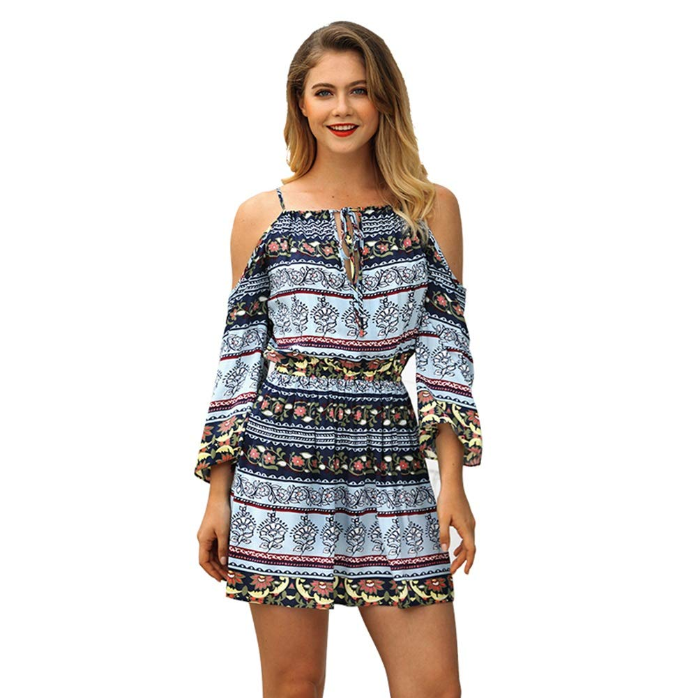 bluee Ladies Dress, Fashion Boho Printing Floral Strapless Shoulder Dress Vacation Beach Mini Short Skirt