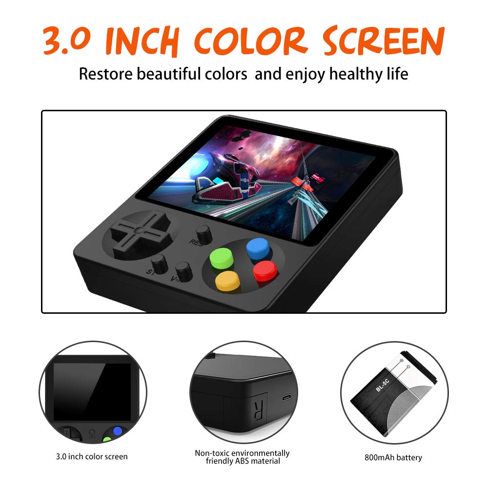 LFJSTECH Handheld Game Console, 333 Classic Games 3 Inch LCD Screen Portable Retro Video Game Console Support for Connecting TV and Two Players, Good Gifts for Kids and Adult. (Black) by LFJSTECH (Image #4)