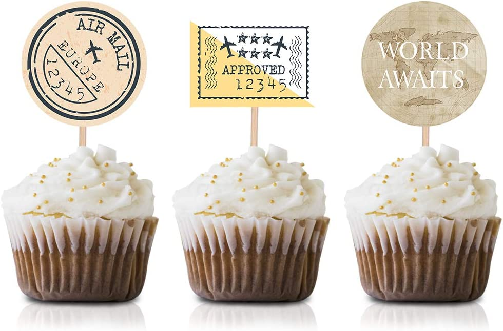 World Awaits Party Cupcake Topper Picks, 24-Pack Travel Baby Shower Party Supply Decorations