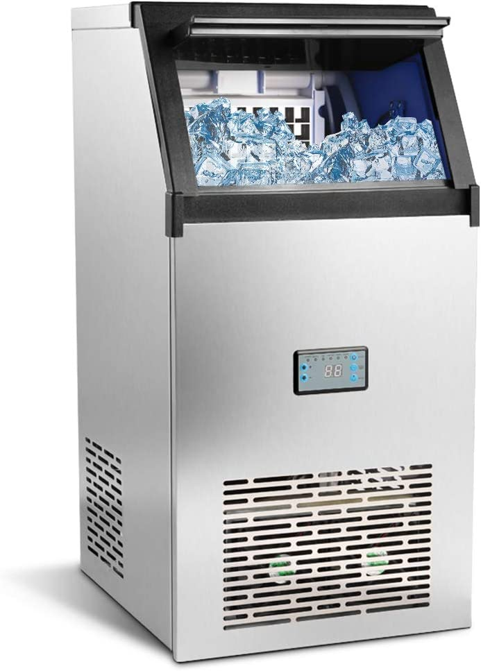 Commercial Ice Machine 100lbs/24h with 33lbs Storage,45 Ice Cubes Ready in 12-18 Mins Freestanding Large Stainless Steel Ice Maker for Restaurant/Bar/Supermarkets