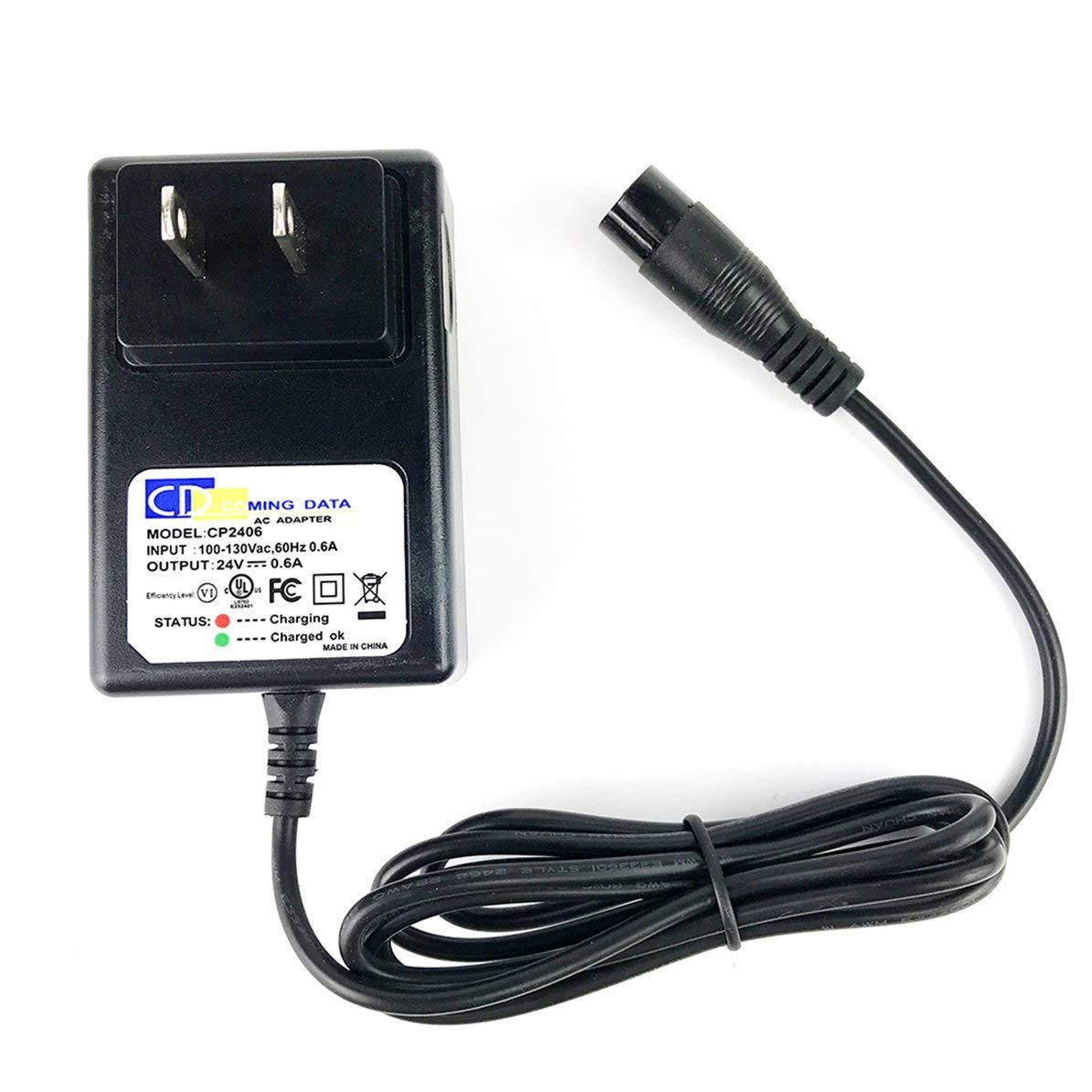 DoMoment Chargeur de Batterie électrique Professionnel de Scooter de 0.6A 24V 3 noyaux approprié à Razor E100 E200 E300 E125 E150E500