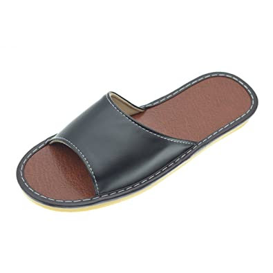 a176eea09ec88 Casual Mens Black Slippers Open Toe PU Leather Flats House Shoes