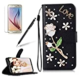 Girlyard For Samsung Galaxy S8 PLUS [Hand Strap] 3D Handmade Diamond Crystal Black PU Leather Flip Wallet Folio Case Shiny Glitter Stand Folding Magnetic Case Cover with Card Slots White Rose Flower Love