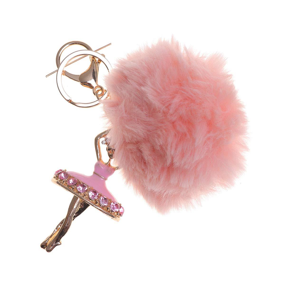 TOYMYTOY Llavero mullido de la bola con el llavero del embutido de los diamantes de imitaci/ón de las perlas para el bolso rosa el colgante del coche de las mujeres el tel/éfono m/óvil