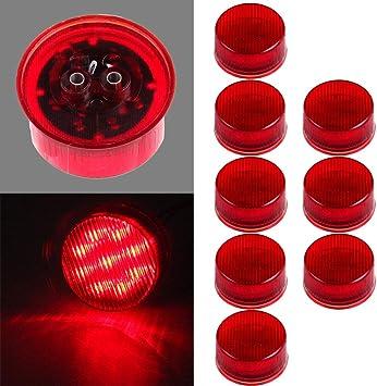 "8pcs Red Amber 2/"" Round LED Side Fender Marker Clearance Light Trailer Van 9LED"