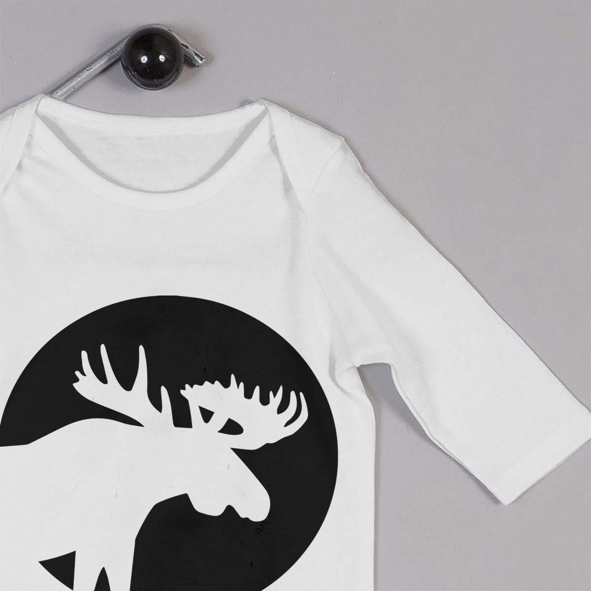 Infant Babys Cotton Long Sleeve Moose Silhouette Moon Romper Bodysuit One-Piece Romper Clothes