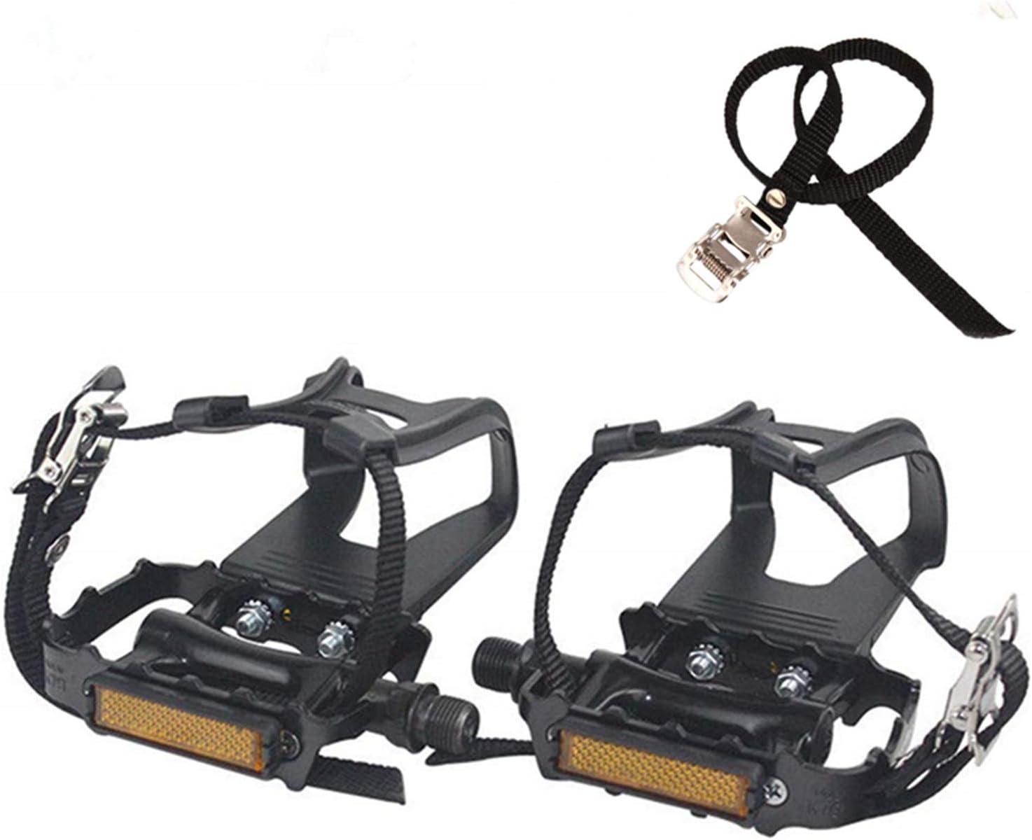 COZYROOMY Pedales de Bicicleta, Pedal híbrido con Jaula y cinturón, Adecuado Bicicleta estática Fitness, Bici Spinning y Todas Las Bicicletas con un Eje de 9/16 Pulgadas. 6 Meses de Garantia