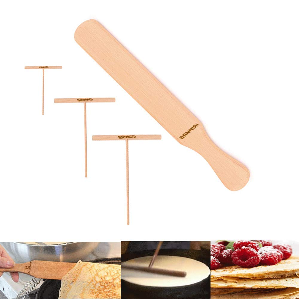 Wooden Crepe Spatula and spreaders | Wooden Spatula Set | Perfect Size to Fit Medium Crepe Pan | 100% Natural Beechwood Crepe Spreader and Spatula for Cooking (12'') by BRNNIRI