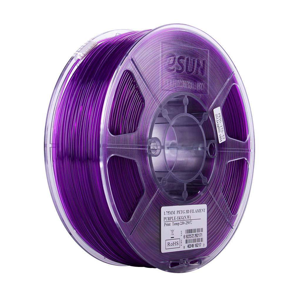 eSUN 3D 1.75mm PETG Semi-Transparent Purple Filament 1kg (2.2lb), PETG 3D Printer Filament, Dimensional Accuracy +/- 0.03 mm, 1.75mm Glass Purple