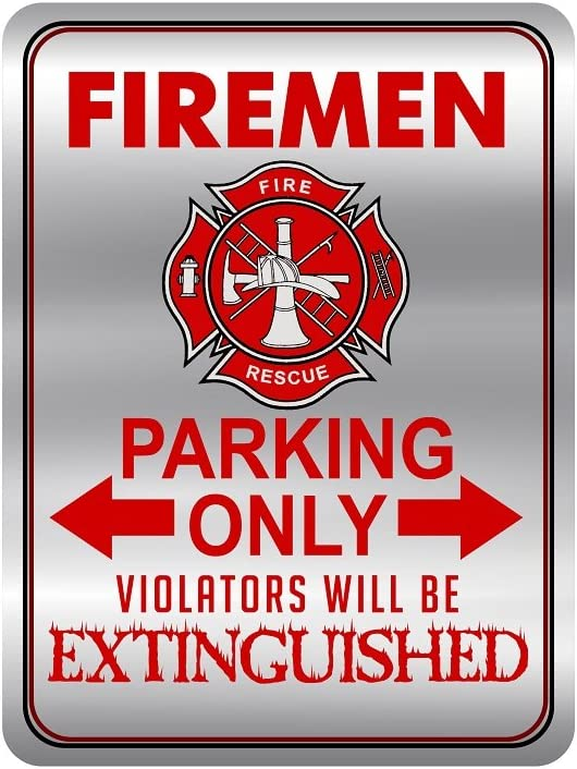 Firefighter Metal Signs for Your House, Novelty 12 x 9 Metal Signs, Firemen Only Metal Signs for Home for Outdoor and Indoor Decor,Tin Signs for Fire Fighters, Funny Kitchen Signs for Firefighters