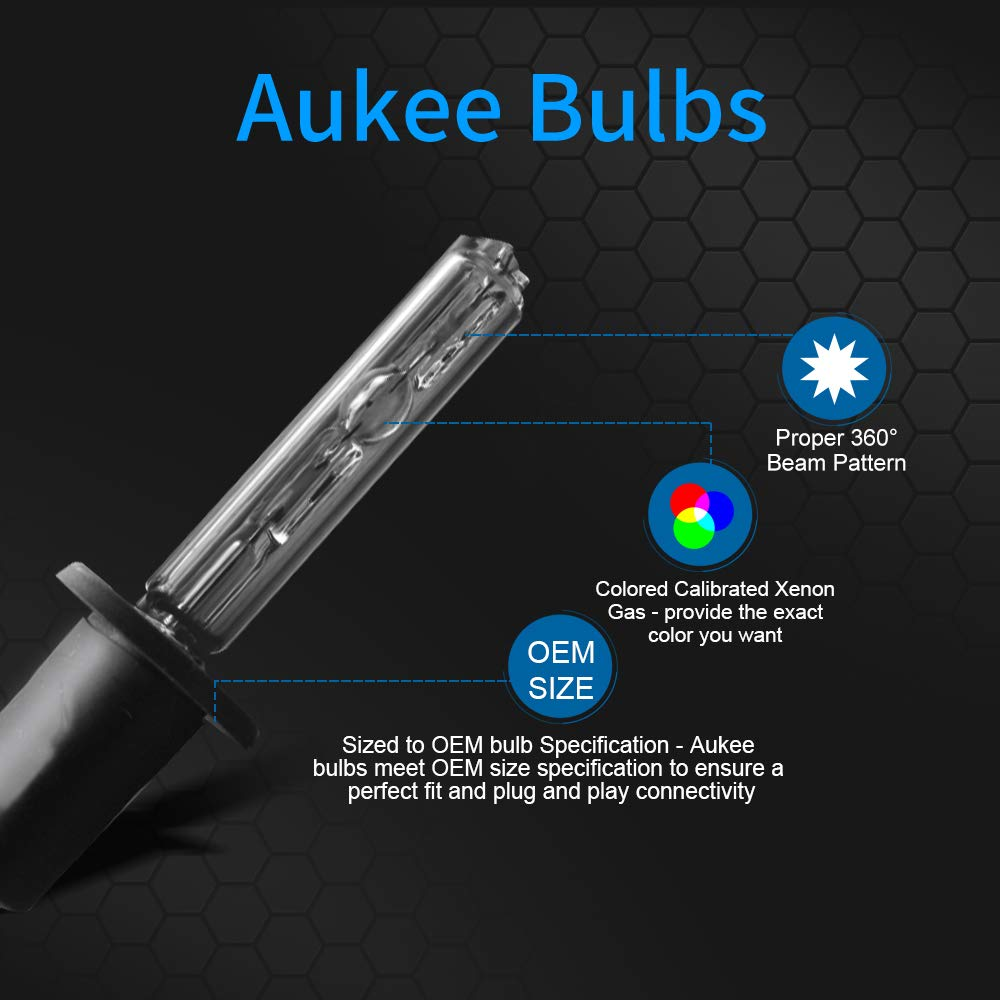 Aukee 55w H1 HID Xenon Conversion Kit Car Headlight Bulbs with Super on