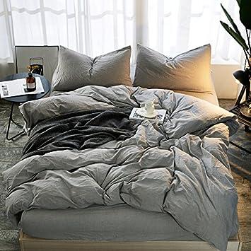 34efeac0fe5 Juego de ropa de cama de 4 piezas de algodón suave y blanco liso de Jessie  ...