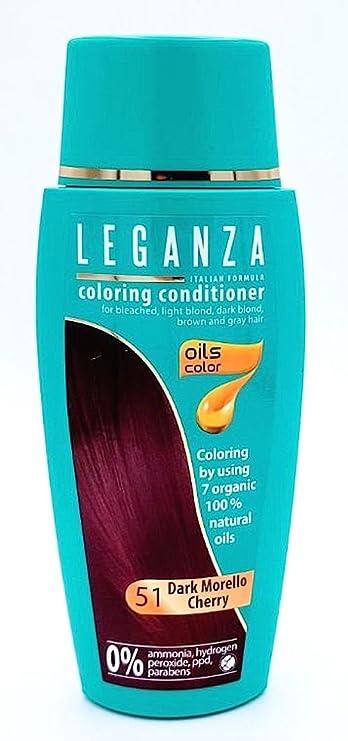 Leganza, 7 aceites naturales, bálsamo para el pelo de color cereza oscuro 51