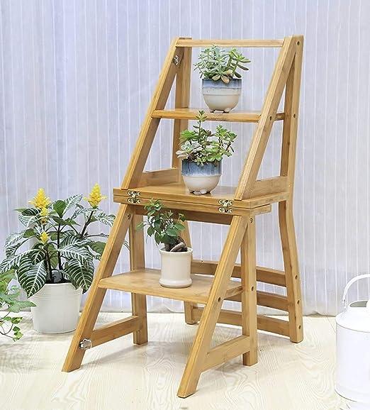 HOMRanger Silla de bambú Escaleras Plegable Interior 4to Piso Color de Madera Silla de Comedor Taburete Multiusos para Adultos, Alto 85 cm de Doble Uso (Color: Color Madera): Amazon.es: Hogar