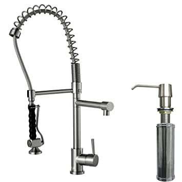 pull out kitchen faucet hose replacement kohler parts down leaking single handle spray soap dispenser stainless steel