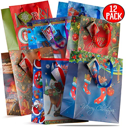 Large Christmas Bags (Prextex 12 Assorted 13' Bags Bags Large Size Assorted Bright)