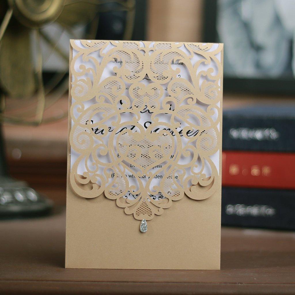 CYSKY Einladungskarte 50 50 50 Pack Herz Einladungskarten mit leerem bedruckbarem Papier und Umschlägen für Hochzeit, Geschäft, Geburtstag, Schulabschluss (Gold) B07NT7J86P   Meistverkaufte weltweit  b65847