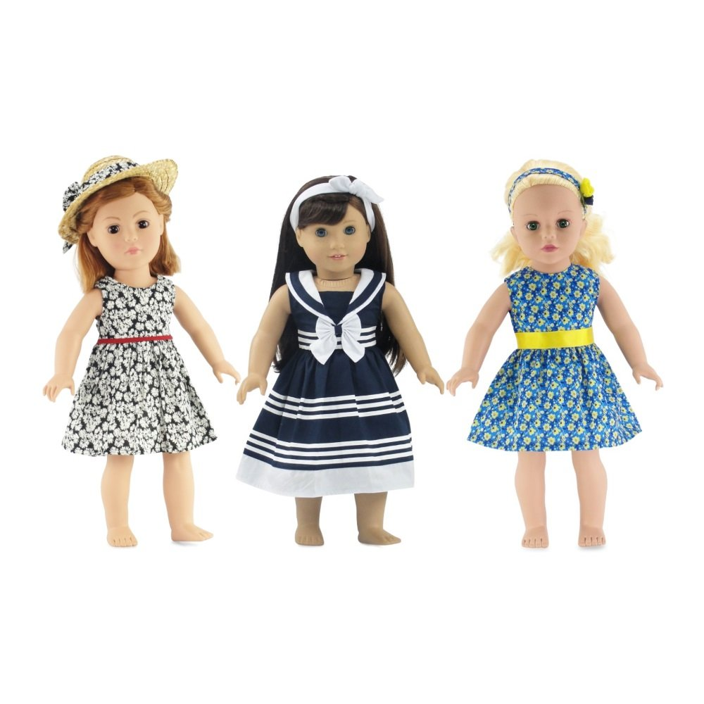 Pink Floral Dress /& Hat Doll Clothes Made for 18 Inch American Girl 2 PC Set