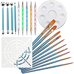 21PCS Mandala Dotting Tools for Painting - Rock Paint Kit, Nail Art, Polymer Clay DIY Embossing Set - 4 Metal Modelling Ball Tools, 5 Stylus Dot Pen, 10 Paint Brush, 1 Mandala Stencil and 1 Tray