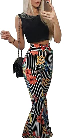 d571c6c39f Jotebriyo Womens Floral Print Sleeveless Crop Top + Pants 2 Piece Club  Jumpsuit Set Outfit Black