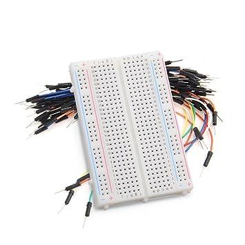 dikley - Placa de pruebas sin soldadura 400 Tie Puntos placa de pruebas prototipos PCB Junta con 65pcs Breadboard Jumper Cables: Amazon.es: Electrónica