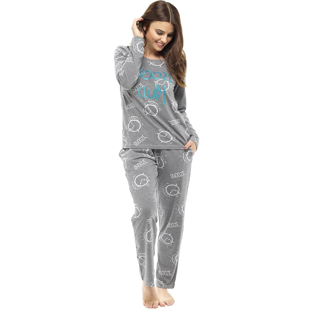 TALLA L. Damas Tom Franks Estampado de Cuadros Invierno Largo Pijama Pijama Pijama - Gris - Cometas, UK 20-22