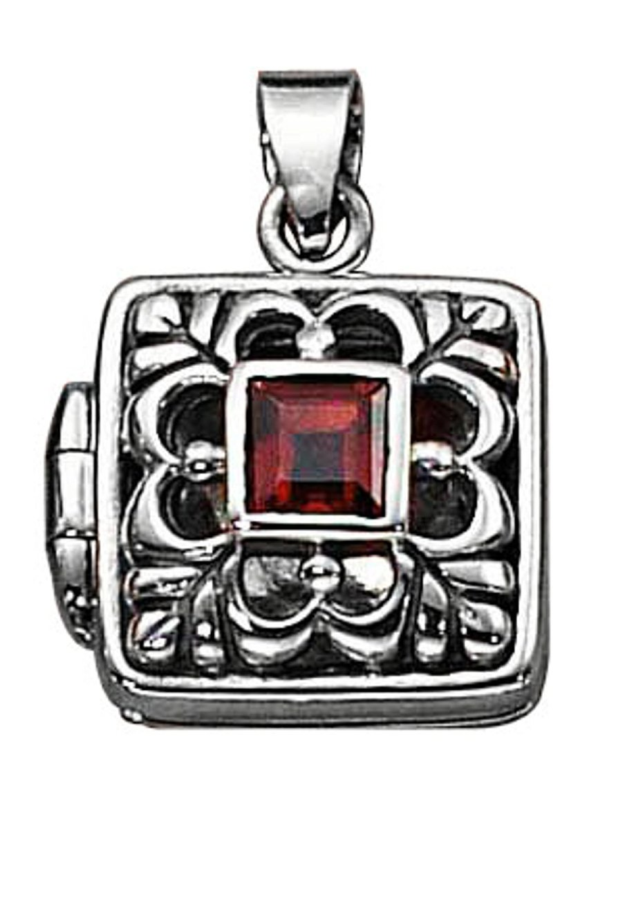 Sterling Silver Womens 20'' 1mm Box Chain Open Filigree Square Locket Pendant Necklace Garnet