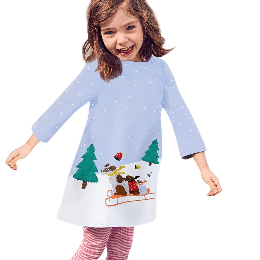 Gallity 幼児 赤ちゃん 女の子 ドレス クリスマス ドレス 長袖 犬 プリント ドレス 服装 2-3Years ブルー Gallity 2-3Years ブルー B07K9VGCJQ