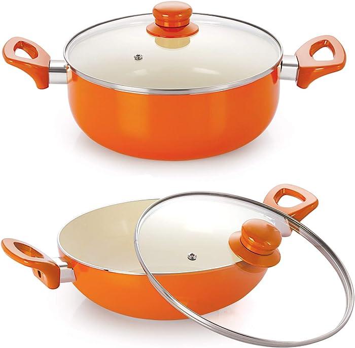 Nirlon Non-Stick Ceramic Cookware Set, 2-Pieces, Orange
