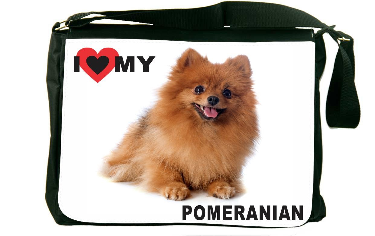 Rikki Knight I Love My Brown Pomeranian Dog Messenger Bag School Bag