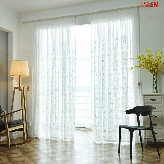 timlatte masterein ratán Plum Blossom hoja bordada cortina ventana tul velo Draperie gasa los visillos atención borde de costura, blanco, 1x2.5m: Amazon.es: Hogar