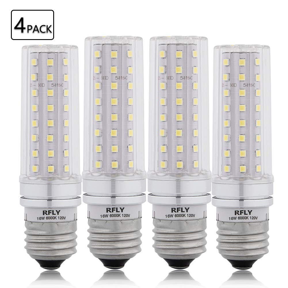 E26 LED Bulbs, 16W LED Candelabra Bulb 120 Watt Equivalent, 1400lm, Decorative Candle Base E26 Non-Dimmable LED Chandelier Bulbs, Daylight White 6000K LED Corn Lamp, Pack of 4