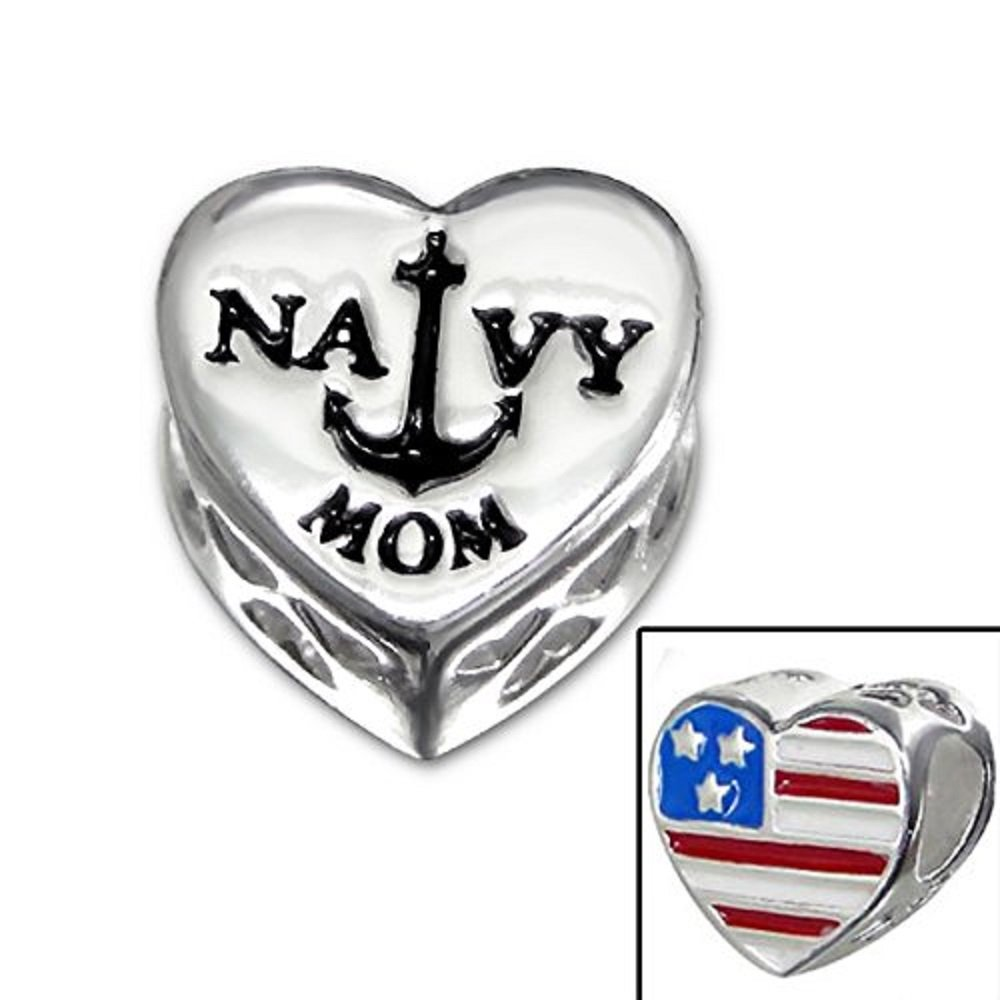 925 Sterling Silver ''Amercian Flag/navy MOM Heart'' Charm Bead Compatible with PANDORA Bracelets