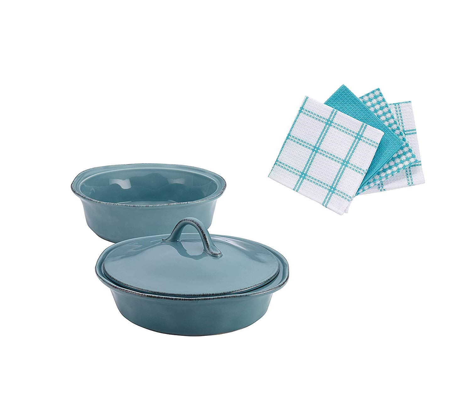 Rachael Ray Cucina Stoneware Casserole & Lid Set (3 pcs), Agave Blue With Towels
