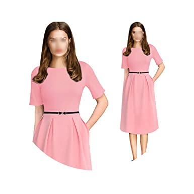 612757a329427 Womens Elegant Vintage Summer Polka Dot Belted Tunic Pinup Wear to ...