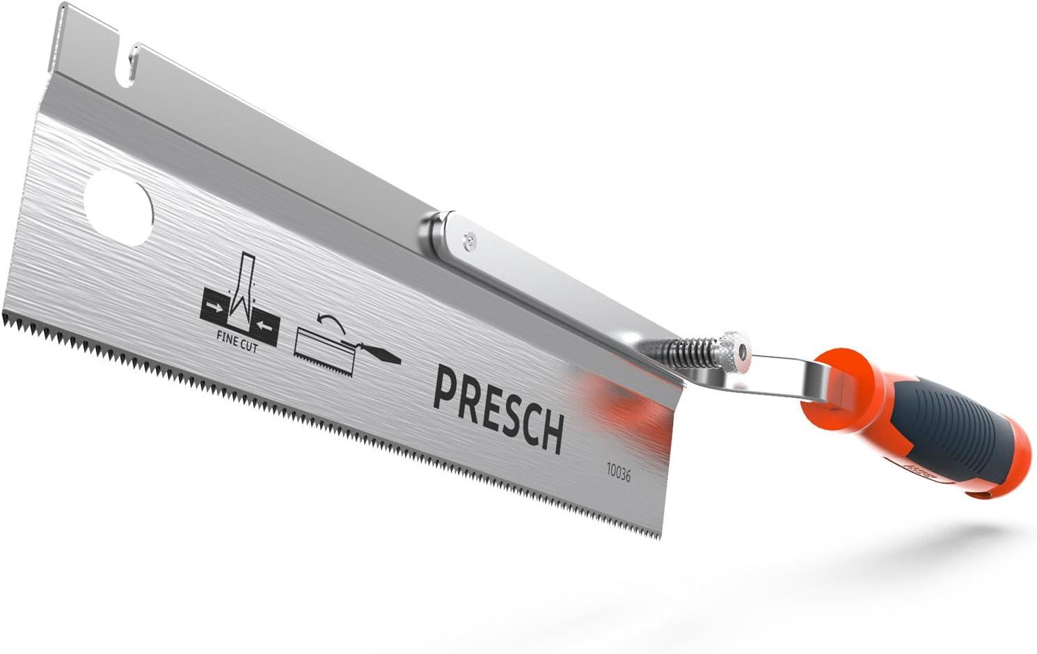 Presch sierra acodada orientable 250mm - sierra manual ajustable plegable acodada madera, plástico, PVC, estuco, yeso