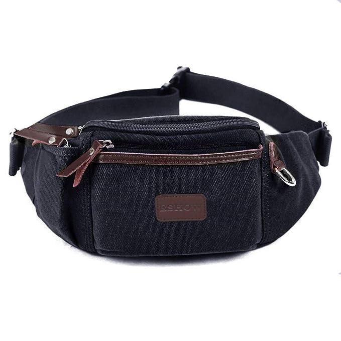 4bb8829ce660 Eshow Men's Fanny Pack Canvas Waist Pack Waist Bag for Men Belt Bag  Outdoors for Morning Jogging Running
