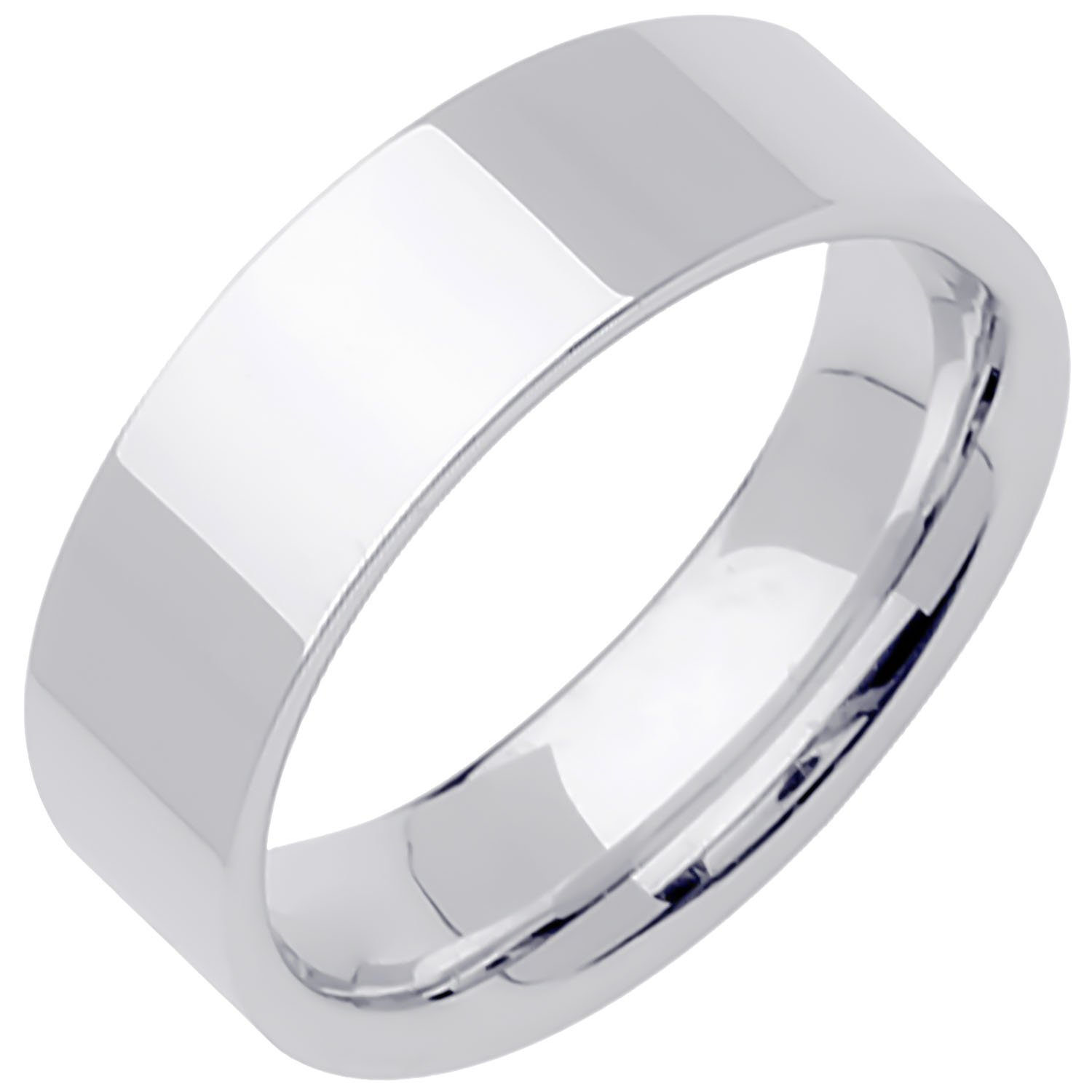 18K White Gold Traditional Top Flat Women's Comfort Fit Wedding Band (8mm) Size-5c1