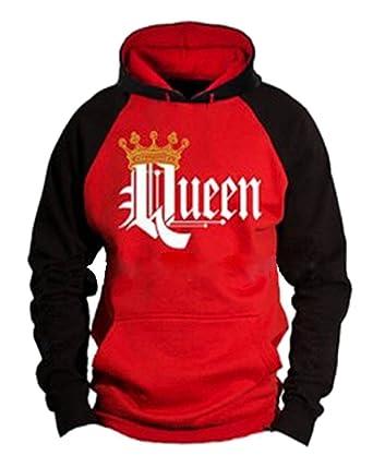 Tomwell Hombre Y Mujer Moda King Queen Impresión Sudaderas con Capucha Manga Larga Pullover Camisas Jersey Hoodies Parejas Tops C Rojo Queen EU XS: ...