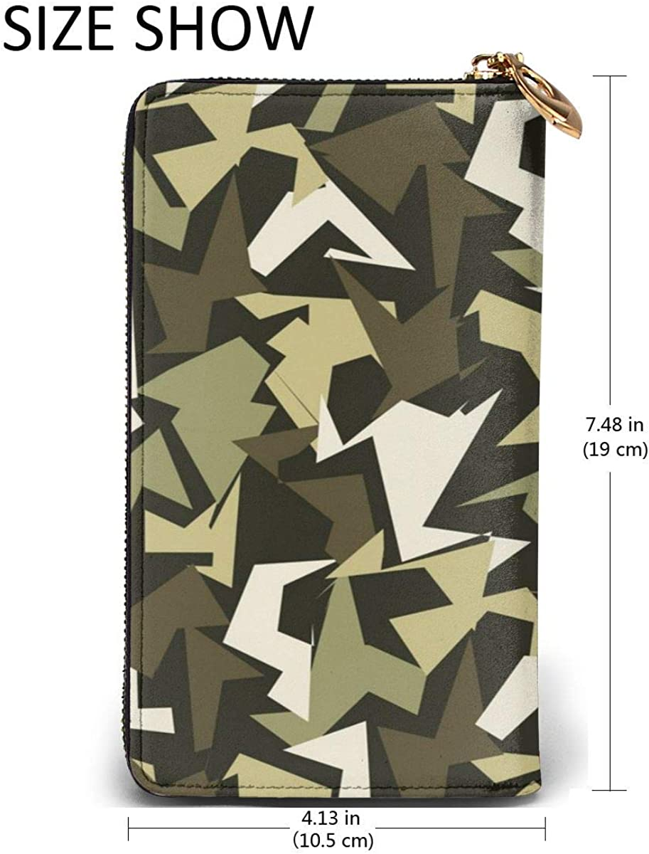 Abstract Military Camouflage Background Leather Zipper Clutch Bag Wallet Large Capacity Long Purse For Women Customized