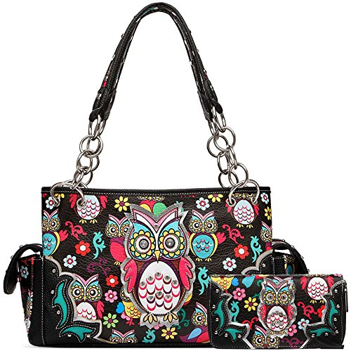 Colorful Owl Western Summer Fashion Purse Concealed Carry Handbags Women Country Shoulder Bag Wallet Set (Black Set) (Carry Fashion Bag)