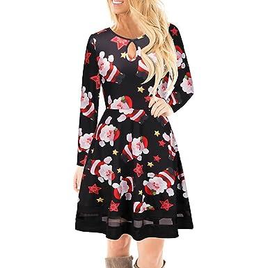e1b7a9211a0a Frauen Weihnachten gedruckt Spitzenkleid Damen Langarm Minikleid ...