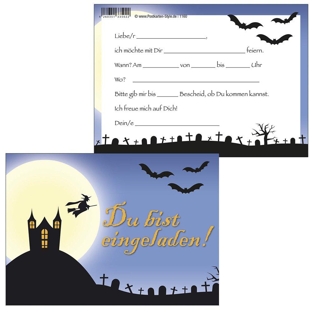 'Biglietti d' invito Halloween Party nel castello fantasmaSei invitato 1160 10 Einladungskarten + 2 Postkarten Konzept-G 1160-10+1301-2
